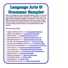 FREE Grammar & Language Arts Sampler - 16 Printable Pages! All can be used as stand-alone activities.