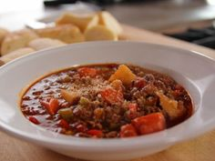 """Hamburger Soup : """"It just says home to me for some reason,"""" Ree says of this comforting soup, simmered with ground beef, plenty of fresh vegetables, including potatoes, carrots and bell peppers, and a duo of dried herbs."""