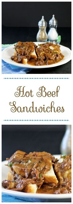 Hot Beef Sandwiches made from a chuck roast. Tender pieces of beef smothered in gravy made into a sandwich with mashed potatoes. - Recipes, Food and Cooking