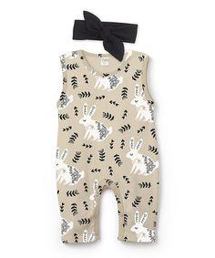 Look what I found on #zulily! Beige & Black Bunny Sleeveless Playsuit & Black Headband - Infant #zulilyfinds