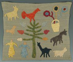 Folk art textile by Kate Clayton (Granny) Donaldson (1864-1960) of Brasstown, Jackson County, North Carolina