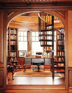 The perfect home library. Reading nook, wall bookshelves, and a spiral staircase. Wall Bookshelves, Bookcases, Book Shelves, Home Libraries, Trendy Home, Cheap Home Decor, My Dream Home, Home Office, Office Nook