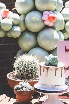Take a look at this fantastic cactus birthday party! The cake is amazing!!  See more party ideas and share yours at CatchMyParty.com  #catchmyparty #partyideas #cactus #cactusparty #girlbirthdayparty #fiesta #cake