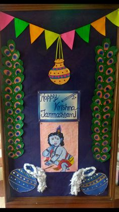 Display board decorations for krishan janmashtami Janamashtami Decoration Ideas, School Board Decoration, Safari Decorations, School Decorations, Festival Decorations, Flower Decorations, Preschool Classroom Decor, Preschool Crafts, Projects For Kids