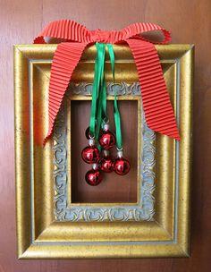 Moldura decorada com Fitas para o Natal - Clube de Artesanato