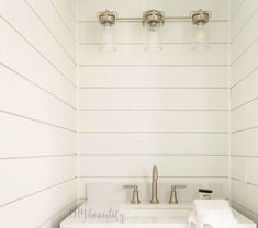 5 Shiplap Wall Ideas featured by top AL home decor blogger, She Gave It A Go Bathroom Counter Decor, Small Bathroom, Washroom, Faux Shiplap, Shiplap Siding, Installing Shiplap, Driven By Decor, Walk In Shower Designs, Ship Lap Walls