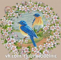 Spring trills of birds by DMC Just Cross Stitch, Cross Stitch Animals, Cross Stitch Flowers, Cross Stitch Patterns, Mosaic Flowers, Filet Crochet, Cross Stitching, Photo Wall, Kids Rugs
