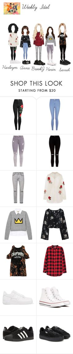 """Weekly Idol : VIBE$"" by estherbljk on Polyvore featuring mode, New Look, Ashish, Alice + Olivia, Boohoo, H&M, NIKE, Converse, adidas et Puma"