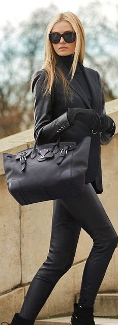 chic, all black- perfect outfit for everything- love the turtleneck under the blazer