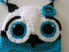 Items similar to Teal Black and White Owl Hat Adult size on Etsy Crochet Boots, Cute Crochet, Crochet Ideas, Crochet Baby, Crochet Projects, Knit Crochet, Crochet Patterns, Owl Crafts, Yarn Crafts