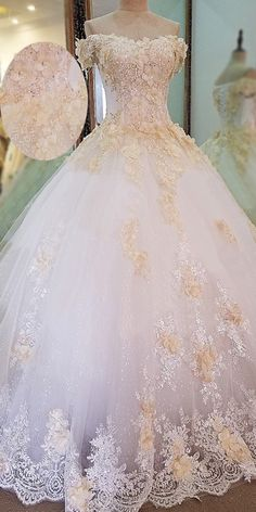 NEW! Glamorous Tulle Off-the-shoulder Neckline Ball Gown Wedding Dress With Lace Appliques & Beadings & 3D Flowers