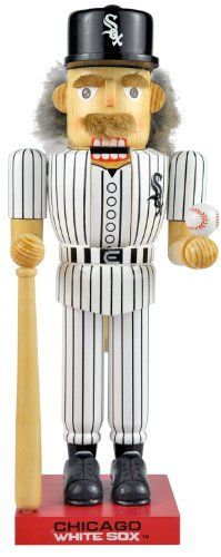 $16.99-$55.00 Kurt Adler 14-Inch Chicago White Sox Baseball Player Nutcracker - This 14-Inch Major League Baseball Chicago White Sox Baseball Player Nutcracker is the perfect item for any White Sox fan. Wearing a black and white Sox uniform and a black and white baseball cap, both featuring the White Sox emblem, this nutcracker is holding his own baseball bat and ball, and is standing on a red,  ...