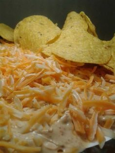Nacho Platters Create yours like now - Taco Chip Dip Recipe, Tortilla Chip Dip, Nacho Chip Dip Dip For Tortilla Chips, Nacho Chips, Cilantro Cream Sauces, Chip Dip Recipes, Breakfast Nachos, Seven Layer Dip, Creamed Onions, Recipe Tonight, Taco Sauce