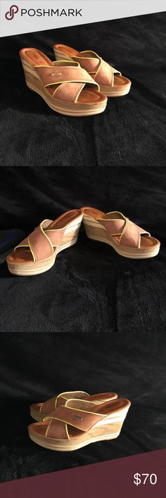 Cute wedges! These wedges are so cute and are new! The yellow is a very bright neon yellow! Brighter in person! You'll love them! Made in Italy and made with real leather. Azura Shoes Wedges
