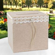 Rustic Romance Burlap Wedding Wishing Well Card Holder Box #HortenseBHewitt