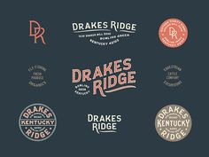 Drakes Ridge Brand - Final brand assets for Drakes Ridge, a ranch property in Kentucky - Typography Logo, Logo Branding, Typography Design, Branding Design, Lettering, Corporate Branding, American Logo, Logo Creation, Retro Logos