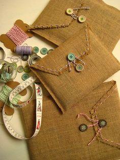 Navidad en Marycot: sobres de yute para regalos