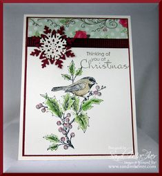 Beautiful Season and Holly Berry Bouquet Designer paper by SandiMac - Cards and Paper Crafts at Splitcoaststampers
