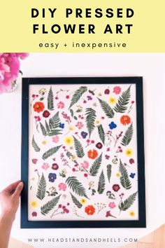 If you're looking for some art to brighten up a wall space, you can make this pressed flower art yourself without spending a lot of money! Check out how I made this super cute art, using an old frame I had and and a couple packs of pressed flowers.