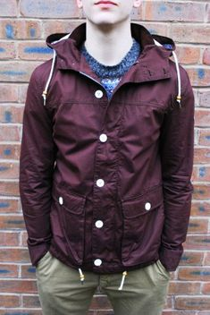 Bellfield Beacon burgundy lightweight fisherman jacket