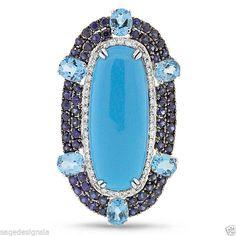 16.61TCW Vintage Turquoise Sapphire Topaz Diamond Cocktail 14K White Gold Ring #SageDesignsLA #Cocktail