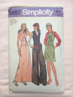 Simplicity 5857 Vintage Sewing Pattern Size 10 Bust 32.5 Waist 25 Seventies 70's Vest Skirt Wide Legged Pants retro groovy Annie Hall suit by TinySparrowTreasures on Etsy