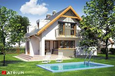 Projekty domów - Projekt domu z poddaszem SZERYL II - wizualizacja 2 - wersja lustrzana Home Fashion, Mansions, Mom, House Styles, Home Decor, Luxury Houses, Interior Design, Home Interior Design, Mothers