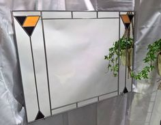 Art Deco Mirror Over Mantel Mackintosh Stained Glass effect by Catfishglass on Etsy Mantel Mirrors, Art Deco Mirror, Stained Glass, Range, Studio, Etsy, Vintage, Home Decor, Cookers