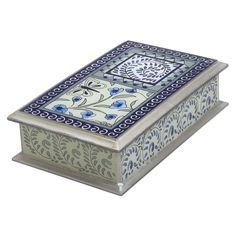 the best present i ever received. i love this jewelry box and will forever. reverse painted in pretty blues and greens