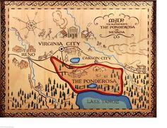 BONANZA THE PONDEROSA RANCH MAP POSTER CARTWRIGHTS WESTERN LAKE TAHOE NEVADA…