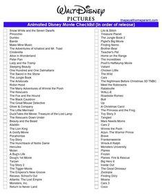 Free Disney Movies List of 400+ Films on Printable Checklists