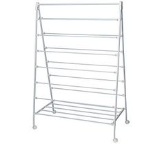 Large capacity A-frame rack features 13 drying bars to hold several garments at once 22 in. x 58 in. White Steel Portable Clothes Drying Rack with A-Frame - The Home Depot Wooden Clothes Drying Rack, Bar Clothes, Clothes Dryer, Drying Rack Laundry, Laundry Dryer, Vertical Storage, Wall Mounted Coat Rack, Easy Day, Hanging Racks
