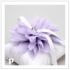 Lydia ring pillow - lavender chiffon flower on cream silk dupioni wedding ring pillow