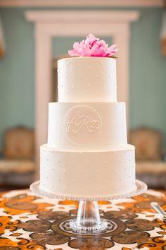 Gorgeous simple monogrammed cake at William Aiken House.  Redding Wedding | The Burlap Elephant