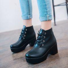 Women Pure Color Platform Heels Ankle Boots
