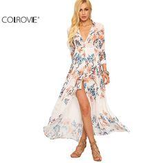 COLROVIE Summer Beach Style Woman Flower Print Chiffon Long Shirt Dresses Deep V Neck Women Casual Lapel Maxi Dress