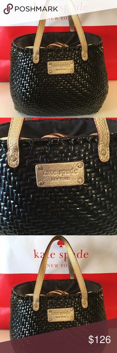 KATE SPADE BASKET PURSE 100% AUTHENTIC KATE SPADE BASKET PURSE 100% AUTHENTIC.  A TIMELESS AND LOVELY LOOK IN THE BEAUTIFUL BASKET WEAVE BLACK AND GOLD PURSE.  USED ONLY ONCE FOR A SPECIAL EVENT.  STUNNING CONDITION . THE BAG HAS 3 INTERIOR POCKETS AND A DRAW STEING ON TOP OF THE BAG TO ENCLOSE YOUR ITEMS FOR SAFETY. THE BAG MEASURES 10 INCHES WIDE BY 7.5 INCHES TALL AND 6.5 INCHES DEEP. THE HANDLES HAVE A 5 INCH DROP. kate spade Bags