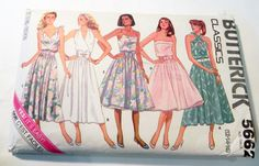 """1980s Halter Sundress Sleeveless Dress fit flare tied shoulders sewing pattern Butterick 5662 Size 12 14 16 Bust 34 36 38"""" by…"""