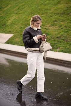 On the Street…Shearling Bomber, Paris