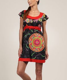 Look what I found on #zulily! Black & Red Mandala Cap-Sleeve Dress #zulilyfinds