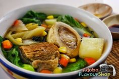 A hearty beef soup dish with all the goodness of bone broth with generous helpings of green vegetables and corn.
