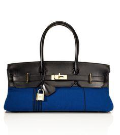 Hermès Limited Edition Blue Potamus Canvas Black Calf Box Leather JPG Birkin