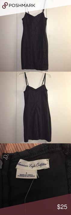 American Eagle Gray Lace Dress!! Gray dress with Lace detail front and back. Spaghetti strap dress. American Eagle Outfitters Dresses Mini