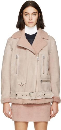 Acne Studios Pink Suede & Shearling Biker Jacket - this design is so timeless it comes back every F/W