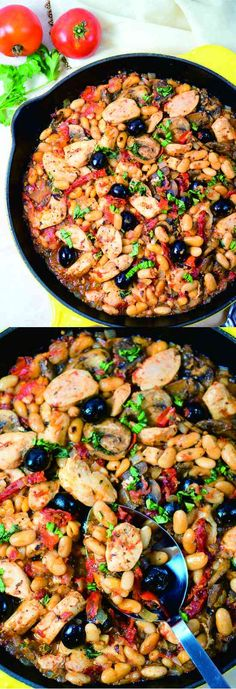 One Skillet Tuscan Chicken - bean, chicken, healthy, mushroom, recipes, tomato