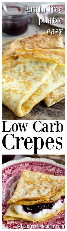 Enjoy these easy low carb crepes with sweet or savoury fillings. They are grain free, pliable and made with only 3 ingredients.