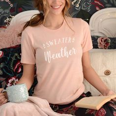 Cute Sweater Weather Graphic Tee #graphictee #winter #loungewear Designer Graphic Tees, Loungewear Outfits, Baseball Tees, Christmas Gifts For Her, Cute Sweaters, Gifts In A Mug, Sweater Weather, Lounge Wear, T Shirts For Women