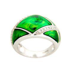 Sterling Silver 1/4ct TDW Italian Green Enamel Diamond Ring (I-J, I2-I3) | Overstock.com Shopping - Top Rated Diamond Rings