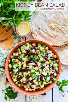 This simple, protein packed Kidney Bean Salad with Lemon & Parsley is filled with texture & bright, refreshing, zesty flavours. It's perfect as a side or for a light lunch! It's vegan, gluten-free & comes with an oil-free option. #kidneybeans #beans #salad #vegan #lemon #highprotein #veganprotein via @avirtualvegan