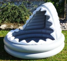 Could be a cool reading center! Pottery Barn Kids Inflatable Shark Kiddie Pool… - All For Backyard Ideas Inflatable Shark, Cool Pool Floats, Kiddie Pool, Shark Party, Pool Toys, Cool Pools, Pool Designs, Pottery Barn Kids, Future Baby